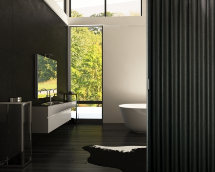 Aporta bathroom folding door, colour Black, 2.5 metre wide, 2.4 metre high, large man-made leather interior door