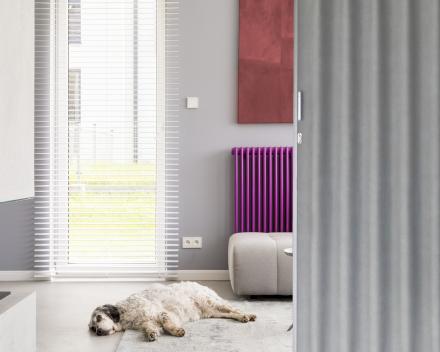 Onze Aporta vouwdeur is robuust, zelf bestand tegen de hond