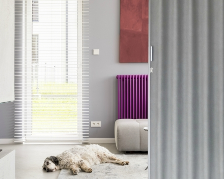Aporta living room folding door, colour Piedra, 3 metre wide, 2.5 metre high, leatherette folding door