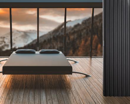 Vouwwand Aporta in de slaapkamer, kleur Ardoise, 8m breed, 2.5m hoog, schuifwand in kwaliteitsvol immitatieleer